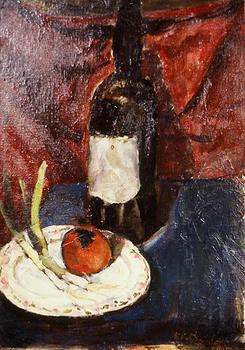 Still Life with Wine Bottle and Tomato